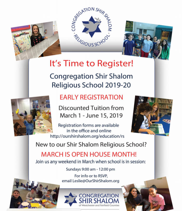 It is time to register to Religious School 2019-2020