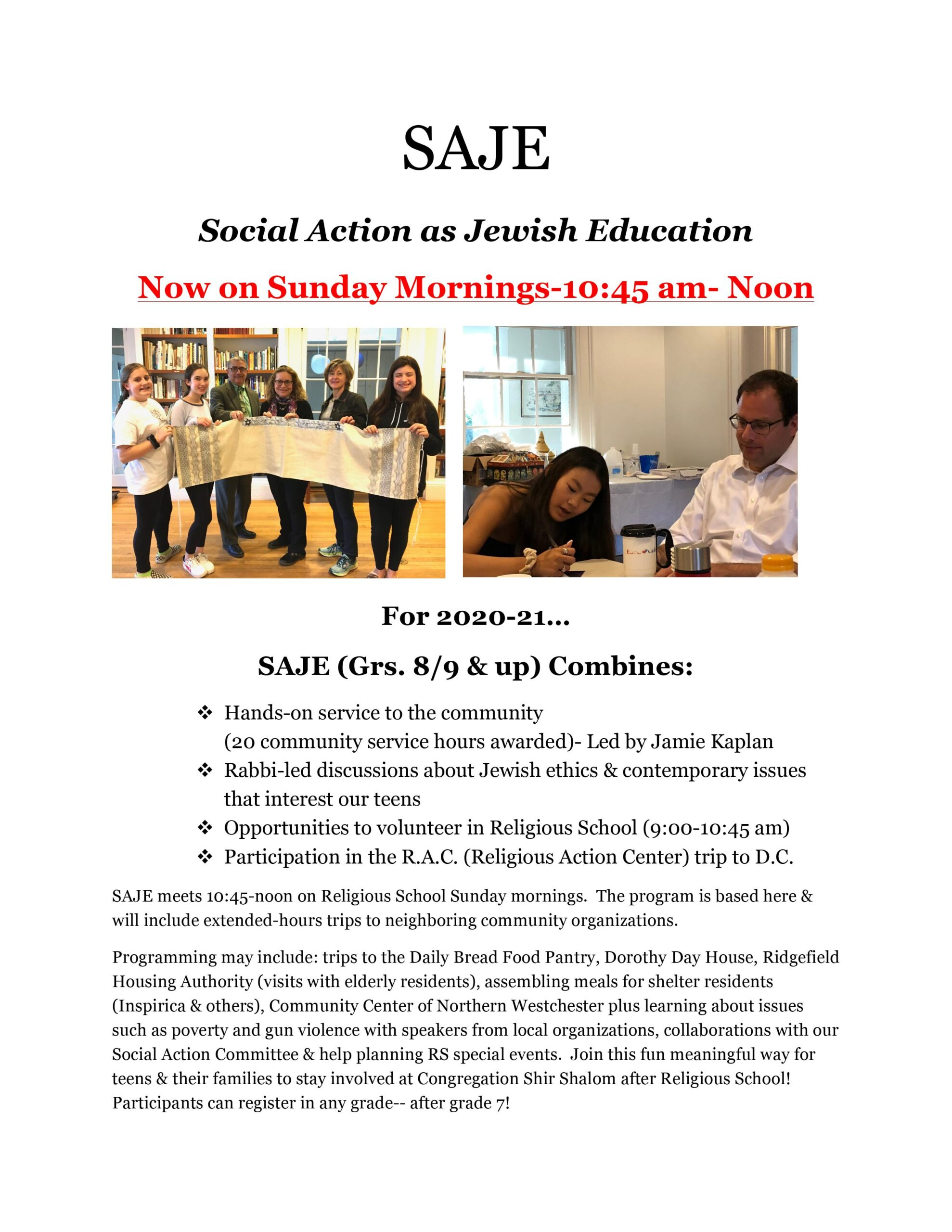 SAJE Social Action as Jewish Education click the image to access Registration Forms