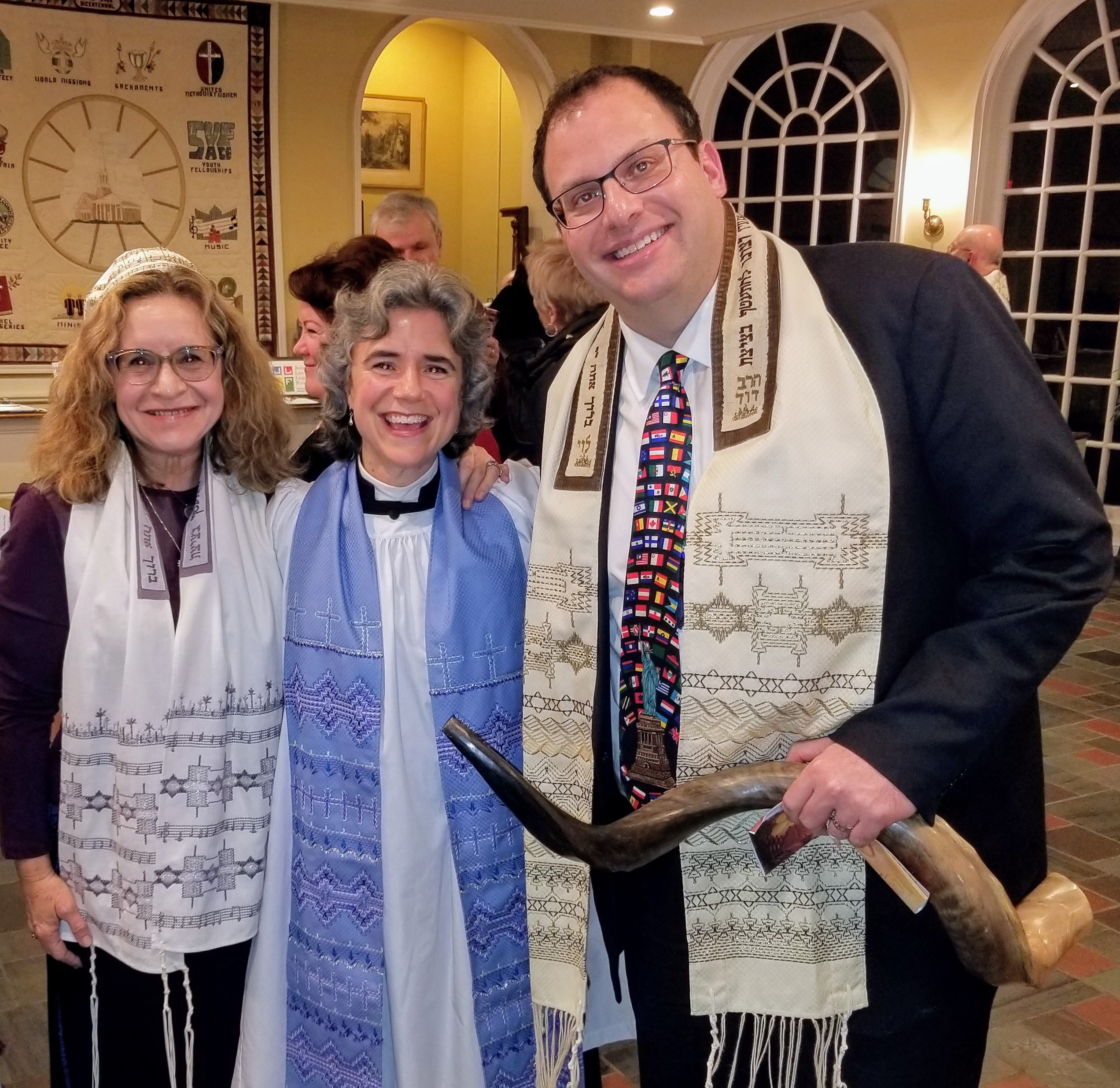 The Rev. Whitney Altopp (c) of St. Stephen's Episcopal Church is flanked by Cantor Deborah Katchko-Gray and Rabbi David Reiner of Congregation Shir Shalom of Westchester and Fairfield Counties. The three form the leadership of the Ridgefield Clergy Assocation.